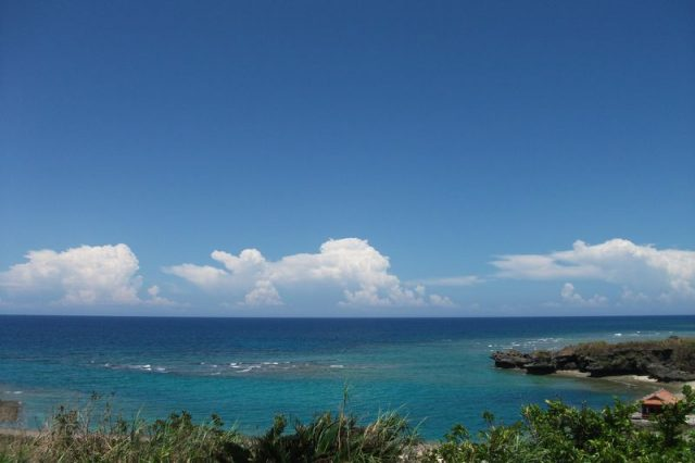 푸른 바다의 전경과 보기 좋은 류큐 창작요리.